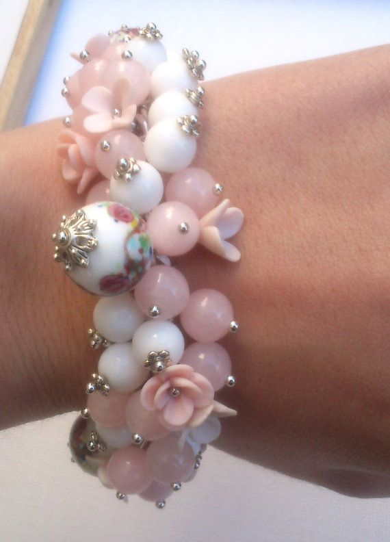 Pink jewelry  Handmade bracelet and earrings  Polymer by insou, $62.00 WANT!~EVERYTHING  PINK~