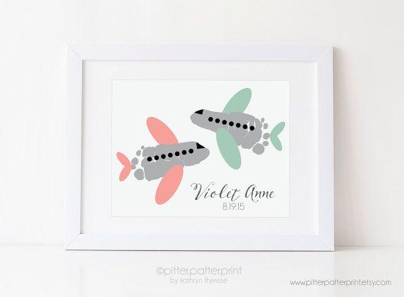 Travel Nursery Art Print Mint Coral Airplane by PitterPatterPrint