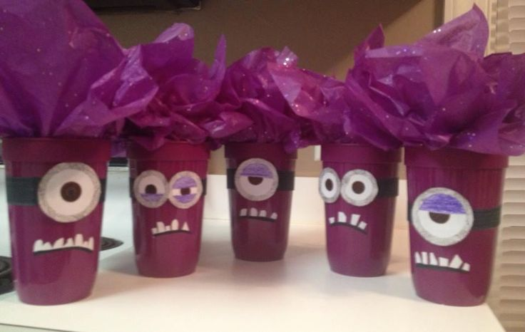instead of goody bags we did EVIL MINION GOODY CUPS!   turned out WAY cuter than any others i've seen so far!   **my idea all by myself, since there haven't been many posts on despicable me 2 birthday party ideas!   despicable me 2 birthday party!   evil minions and nice minions!