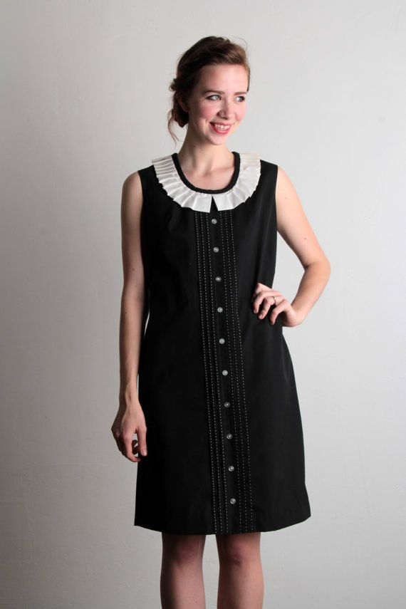 1960s dress black and white lbd mod 60s shift by veravague 95