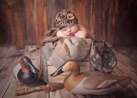 BABY CAMO BEANIE Newborn Hat Photo Prop Photography Crochet Boy Girl Military Duck Hunting Hunters Camouflage