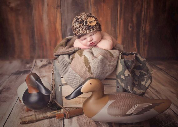 BABY CAMO BEANIE Newborn Hat Photo Prop Photography Crochet Boy Girl Military Duck Hunting Hunters Camouflage