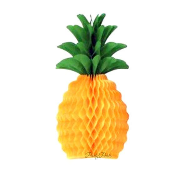 This pineapple centerpiece makes the perfect luau party decoration. Tissue paper has been carefully crafted into a honeycomb design that you create when you open the item and just fold over the metal clasps that hold the edges in place. Simple and beautiful!  ** 1 bright pineapple centerpiece per order  ** 12 inches high (30.48 cm)  ** made of vibrant tissue paper in two different shades of yellow, and kelly green  ** reusable - just unfold for easy and safe storage, and use for future…