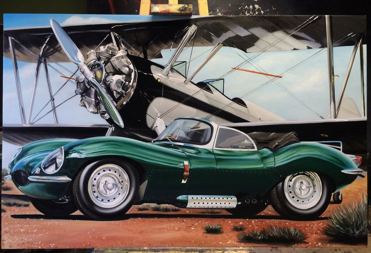 My oilpainting of Jaguar XKSS. Size of canvas 1x1,4 meter.