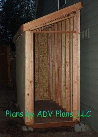 Slant roof shed plan framing side of house alley for Side of the house storage shed