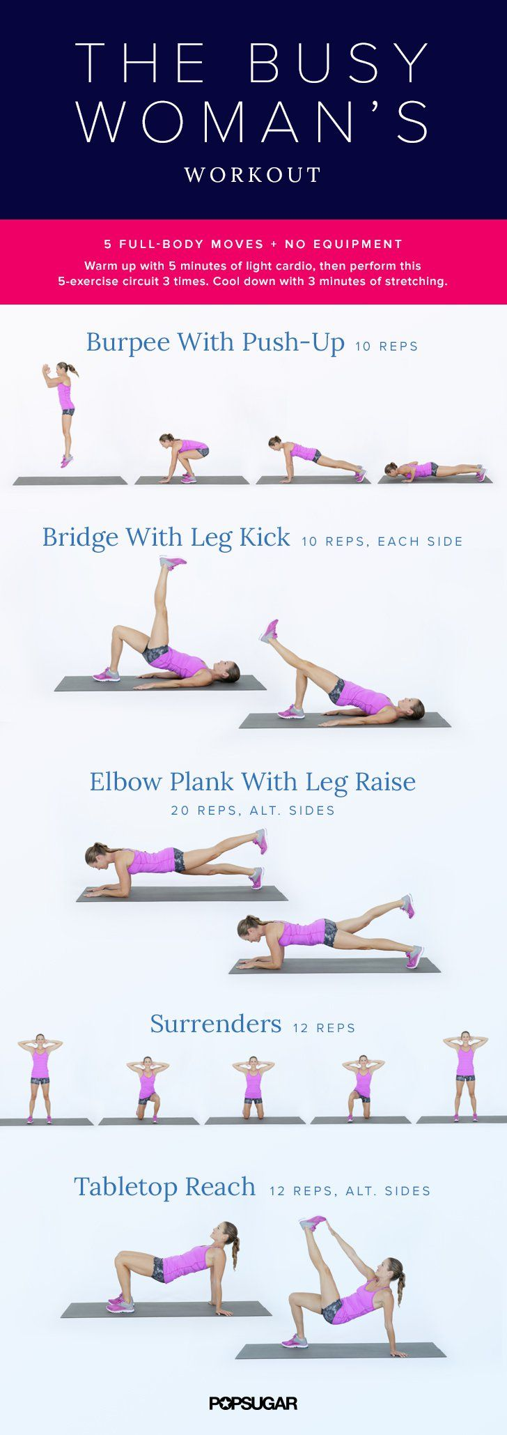 Pin for Later: Printable No-Equipment At-Home Workouts The Busy-Woman's Workout