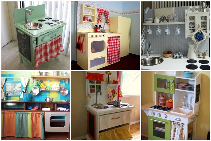 Some homemade play kitchen ideas.