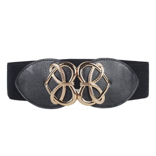New Fashion Woman Decorative Stretch Elastic Wide Belt Dress Adornment Wide Stretch Buckle Waistband Waist Bind Wide Belts No4