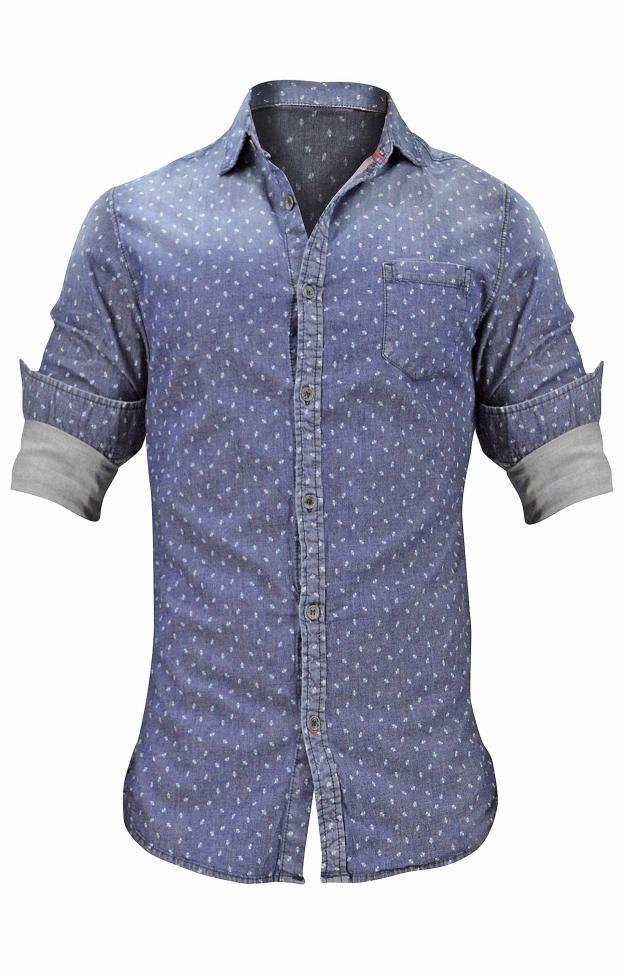 Ανδρικό πουκάμισο τζιν με τύπωμα   Άνδρας - Πουκάμισα   Metal Denim