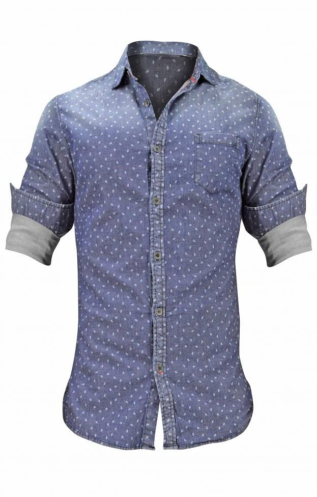 Ανδρικό πουκάμισο τζιν με τύπωμα | Άνδρας - Πουκάμισα | Metal Denim