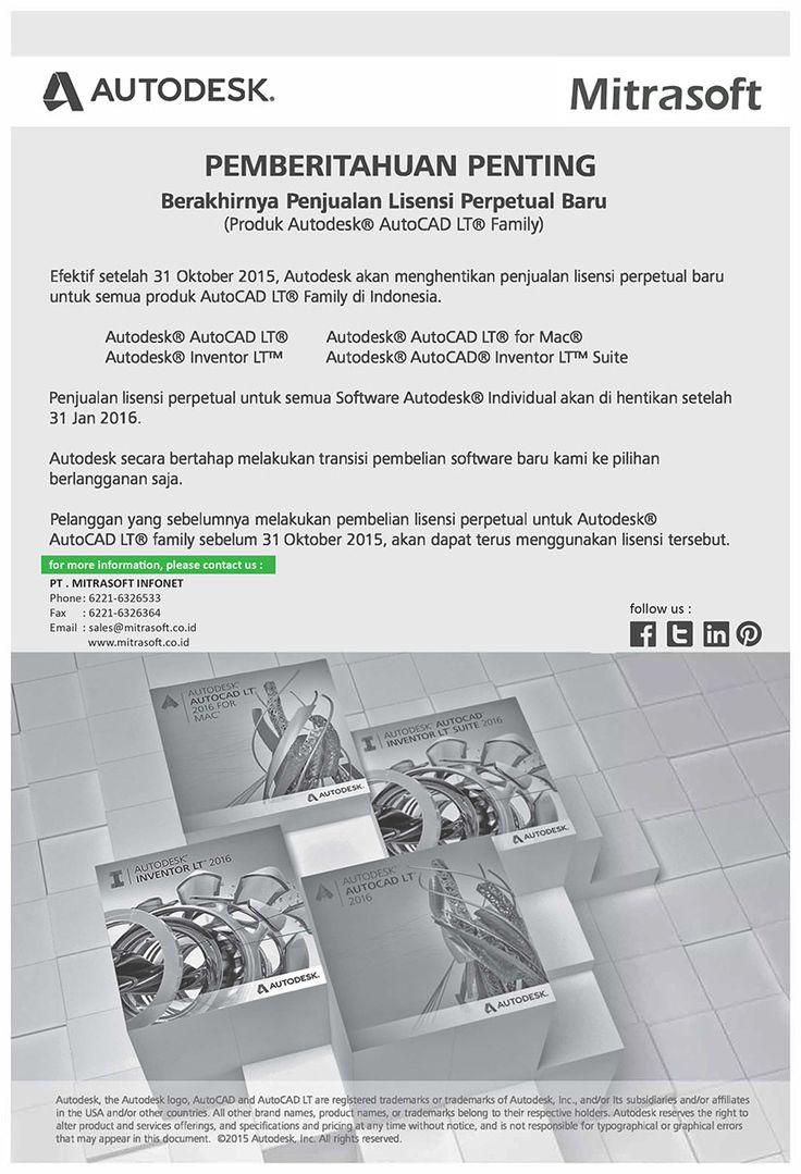#Mitrasoft #MitrasoftNews Efektif setelah 31 Oktober 2015, #Autodesk akan menghentikan penjualan lisensi perpetual baru untuk semua produk #AutoCAD LT® Family di Indonesia. Penjualan lisensi perpetual untuk semua software Autodesk® akan dihentikan setelah 31 Januari 2016. #MitrasoftSolution Like us: https://www.facebook.com/pt.mitrasoft.infonet Follow us: https://twitter.com/Mitrasoft_PT https://www.linkedin.com/company/mitrasoft-infonet