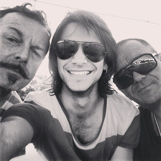 """Via Luke Pasqualino's Instagram: """"Me! Hugo [Speer]! [Sean] Pertwee! Boat trippin in Praha."""" The Musketeers"""
