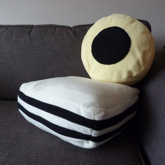 """Allsorts of Cushions"" -  Pair of fleece liquorice allsort cushions by charlieduckdesigns"