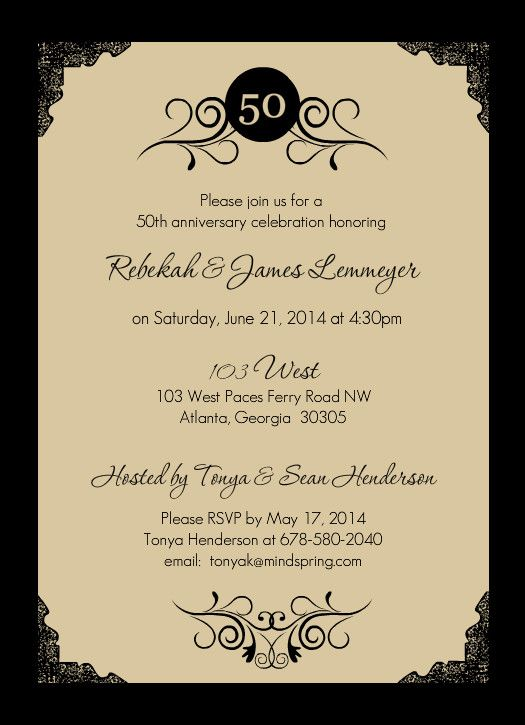 50th anniversary invite lito lita39s 60th pinterest With party city 50th wedding anniversary invitations