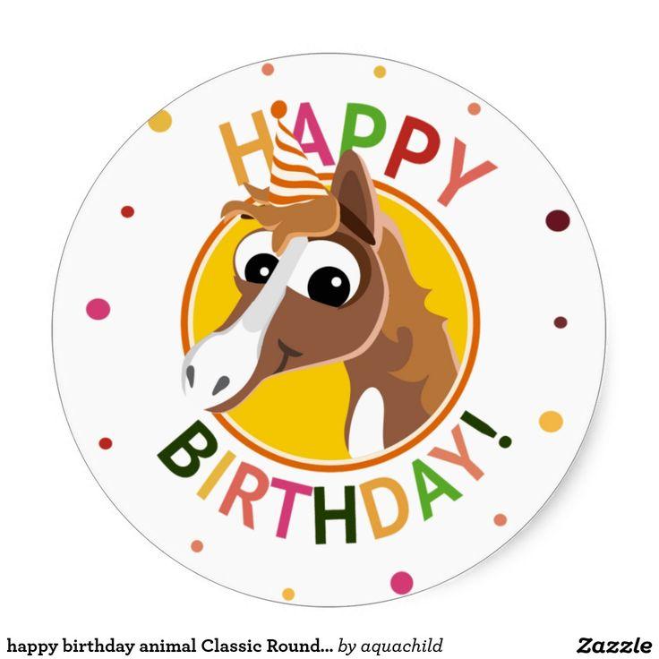 Happy birthday animal classic round sticker