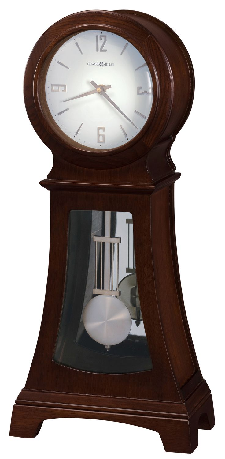 Gerhard Mantel Clock. This contemporary mantel clock has a beautiful sleek look with Arabic numerals. Quartz, battery-operated, triple-chime Harmonic movement plays your choice of full Westminster or Ave Maria chimes with strike on the hour with 1/4, 1/2 and 3/4 chimes accordingly; Westminster chime and strike on the hour only; or Bim Bam chime on the hour only. Volume control and automatic nighttime chime shut-off option. Requires two C sized batteries
