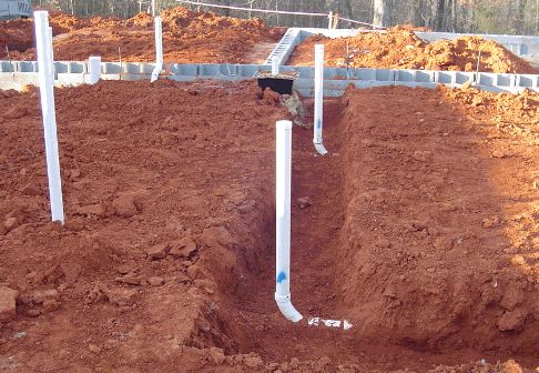 Checking The Plumbing Layout In A Concrete Slab Before It