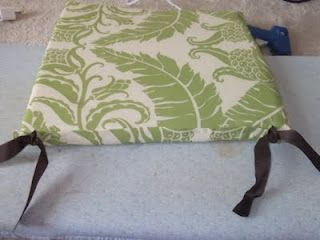 No-Sew Seat Cushions. I would change the fabric, but I love the idea!