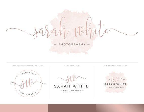 Watercolor Logo Design Branding Package Inc. Photography Logo Watermark - Rose Gold Pink Script Watercolor Logo
