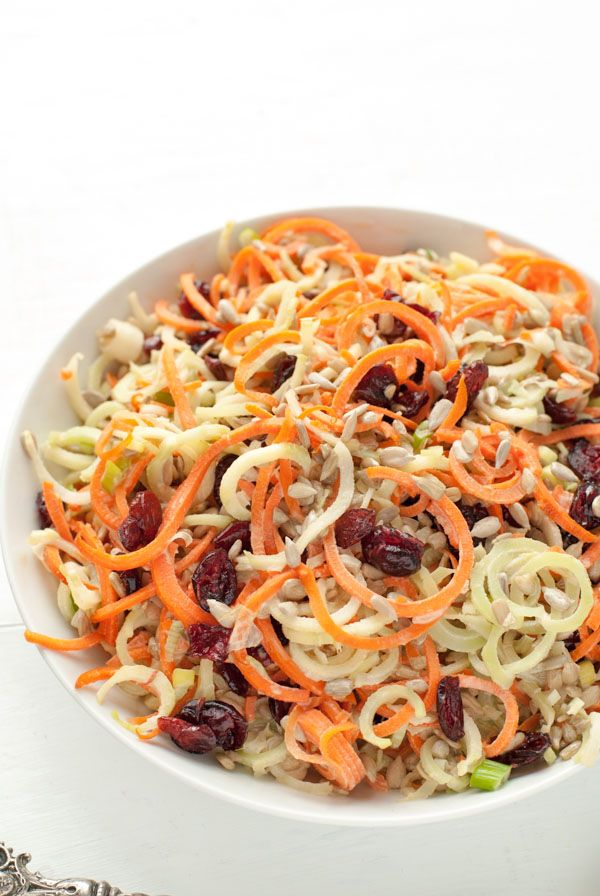 Spiralizer Broccoli Stem Carrot Slaw with Dried Cranberries & Sunflower Seeds - BoulderLocavore.com