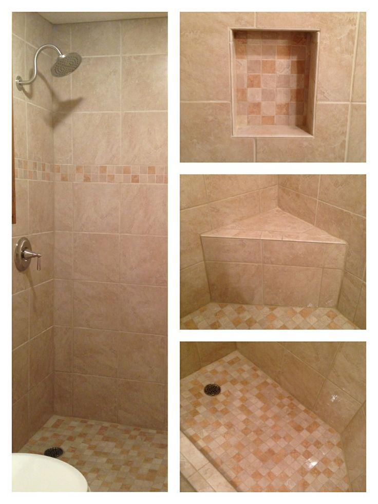 Light beige tile shower with corner bench beige tiles for Beige bathroom tile designs