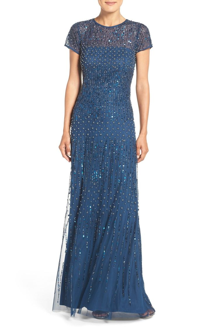 Adrianna Papell Embellished Mesh Gown (Regular