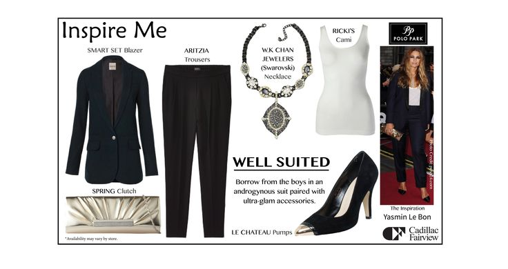 Chic, elegant and perfectly accessorized. Step out in a #Tailored suit for your next night out. LIKE it you love borrowing from the boys! #style #fall #fashion #outfit #inspiration  Find these great items at: Ricki's, Aritzia, Smart Set, W.K. Chan Jewellers, Le Château and Call It Spring