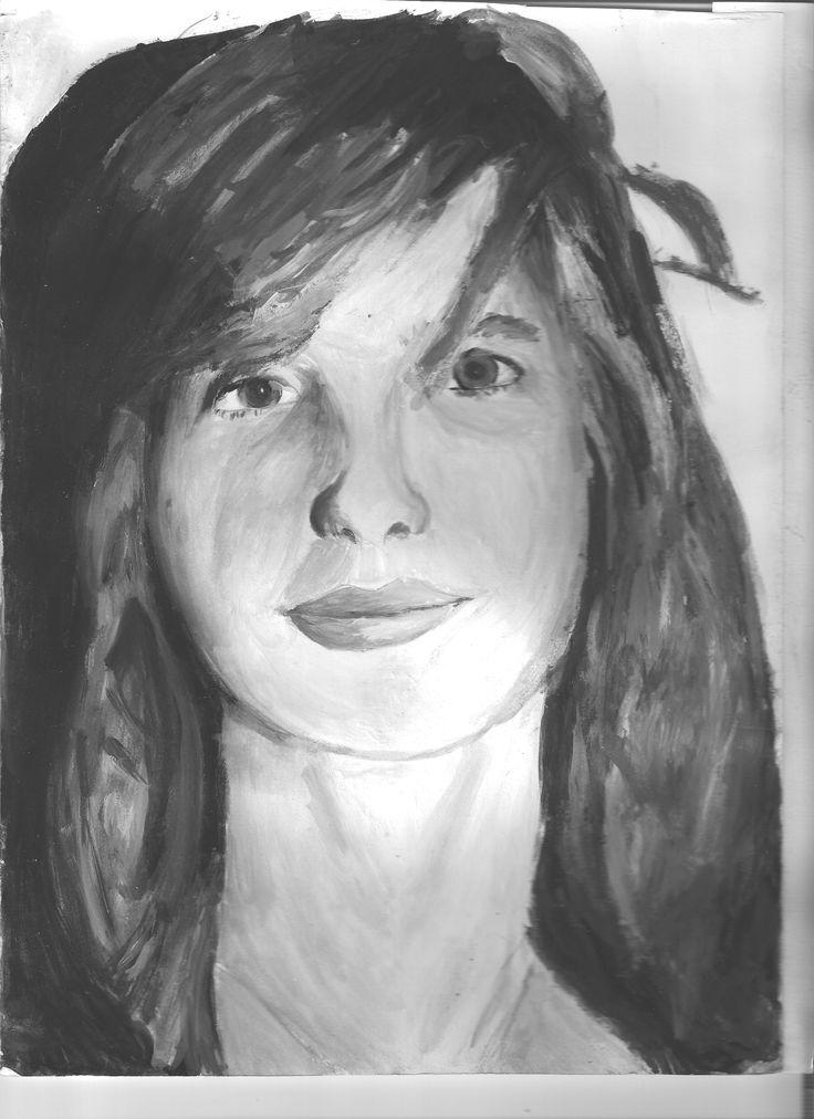 Self portrait of Rani V.  in B&W waterpaint.