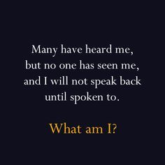Super Hard Riddles # 2 - Many have heard me, but nobody has seen me, and I will not speak back until spoken to. What am I?