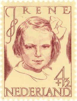 Nederland Stamp 1946 | S.L. Hartz | wijnrood | prinses Irene