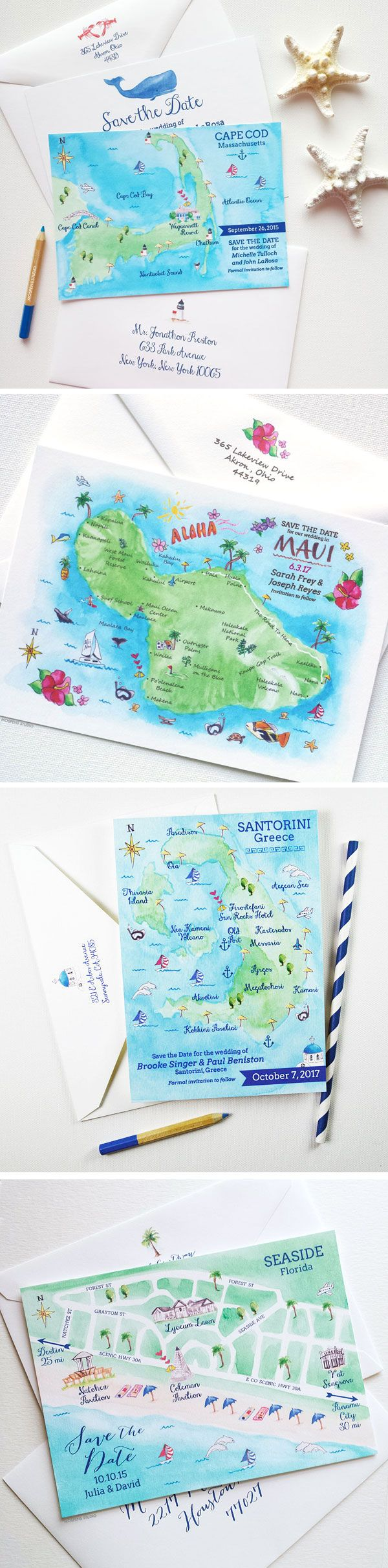 Too cute! Watercolor Map Save The Dates are perfect for destination weddings. 100% Original Art. Greece, Maui Hawaii, Cape Cod, Aruba, Seaside Florida, Key West and Lido Key Florida map save the date designs now available! - www.mospensstudio.com