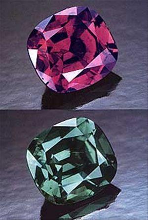 Alexandrite - This stone can undergo a dramatic shift in colour depending on the type of light it is viewed in. A variety of Chrysoberyl, alexandrite belongs to the same family as the emerald.