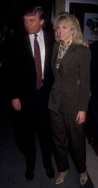 Donald Trump and Marla Maples attend the screening of 'Christmas in Connecticut' on April 8 1992 a Loew's Festival Theater in New York City