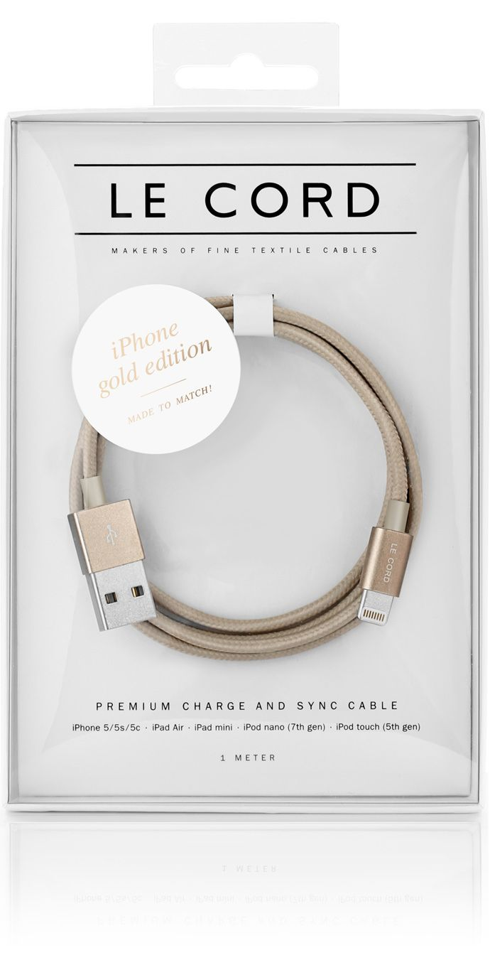 Le Cord Solid Gold iPhone charge & sync cable wrapped in textile
