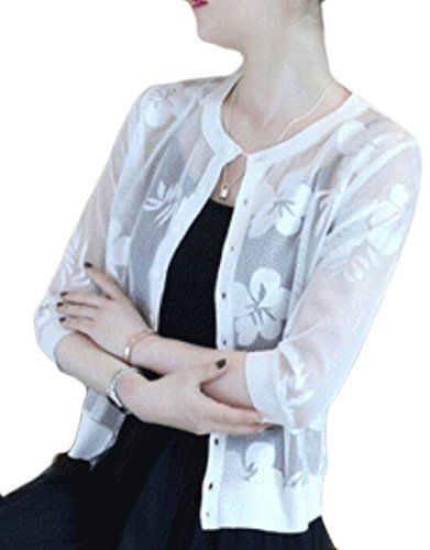 c57142012df Generic Women s Open Front Bolero Floral Lace Shrug Short Sleeve Cardigan