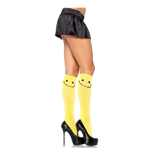 Gele kniekousen met smiley #lingerie #lingeriebestellen #panty #kousen #beenmode #carnaval #fun