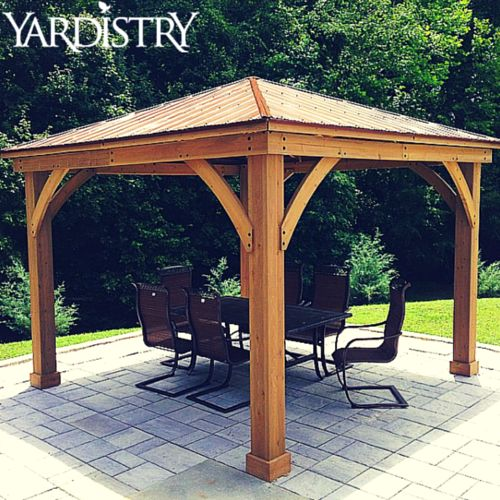 Our Wood Gazebo with Aluminum roof is made of 100 premium cedar lumber and is essential for any backyard!