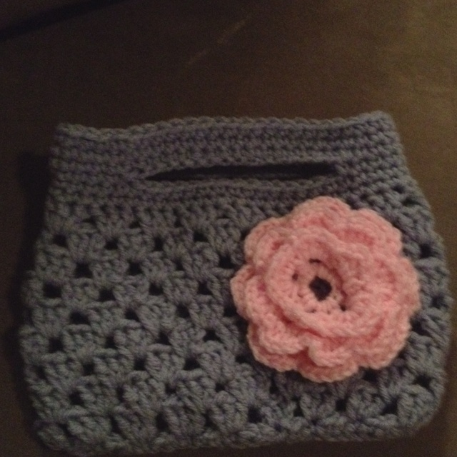 Granny Stripe purse.  I made this for my niece, it looks gray but is actually blue.  Pattern from tangled happy.blogspot.com.   Now to make one for Alyssa.
