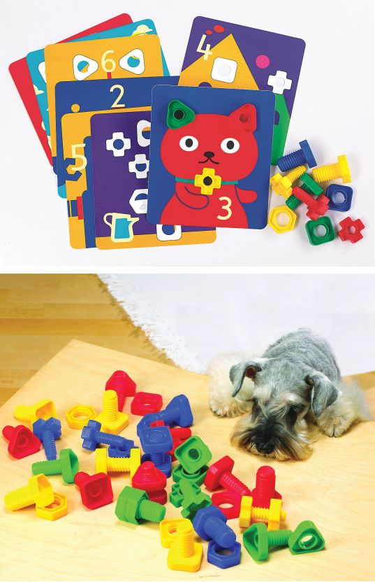 Help kids improve fine motor skills and learn about colors, shapes and numbers! Our Nuts and Bolts set and Activity Cards can be paired together to create a great learning activity. Match the nuts and bolts to the colors and shapes on the 12 durable plastic activity cards.