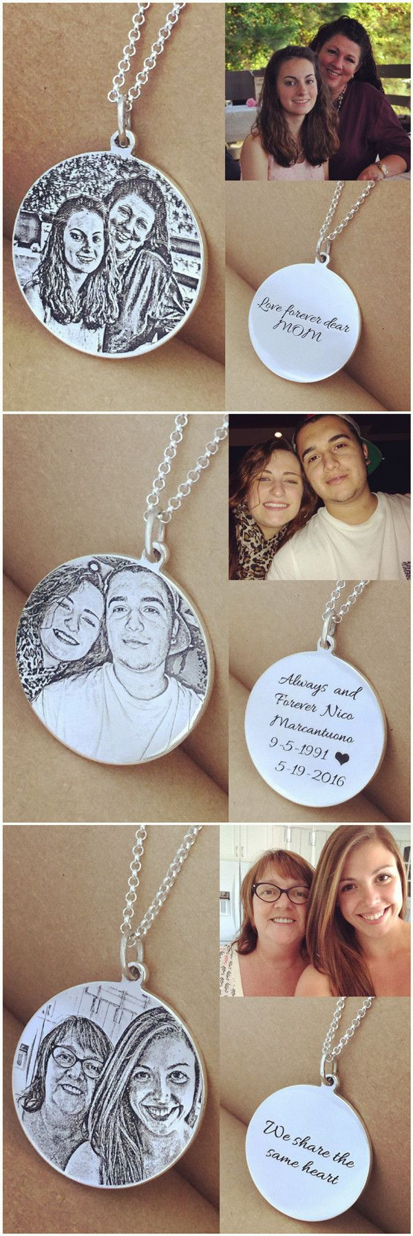 Personalized silver photo engraved necklace comes with your message, it offers memories that will last a lifetime. Nice gifts for Mothers/Best Friends/Couples.