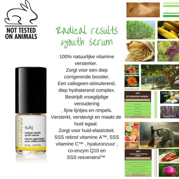 Suki skincare voor al uw huidproblemen. Hier ziet u de biologische ingrediënten van Suki's Radical results youth serum: https://www.bamboeh.com/…/su…/radicalresults-youthserum.html SSS= Strong, Safe & Stable #vegetarisch #veganistisch #antiaging #rimpels #collageen #Q10 #hyaluronzuur #resveratrol #vitamineA #vitamineC