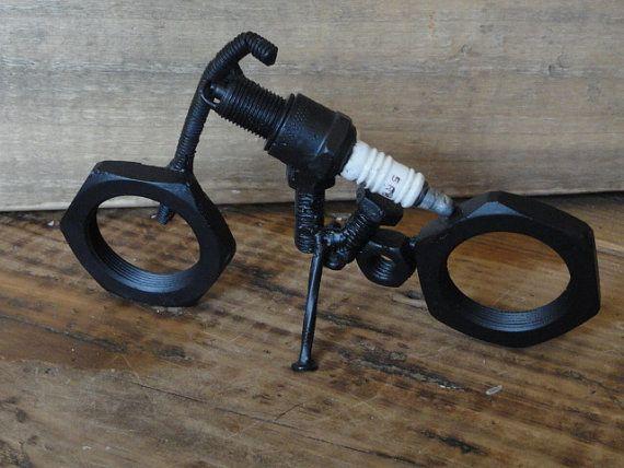 Métal Art Sculpture, moto, Harley Davidson récupérés, industriel, urbain rustique