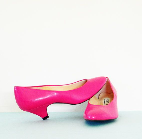 Vintage Hot Pink Heels / Bright Fuschia 80s Pumps / Vintage Kitten