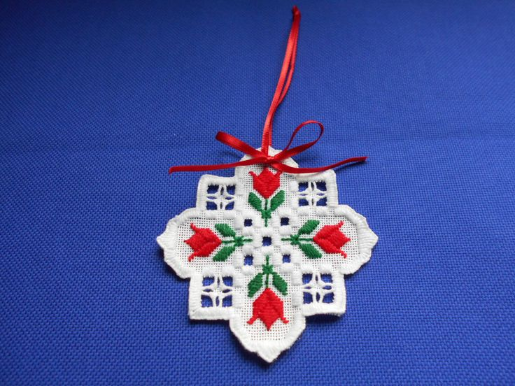 Red Tulip Hardanger Ornament