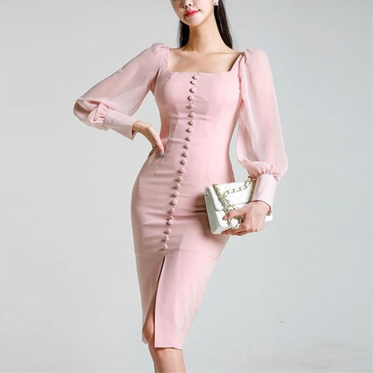 2018 New Elegant Party Dress Long Sleeve Square Collar Pink lace Slimrricdress