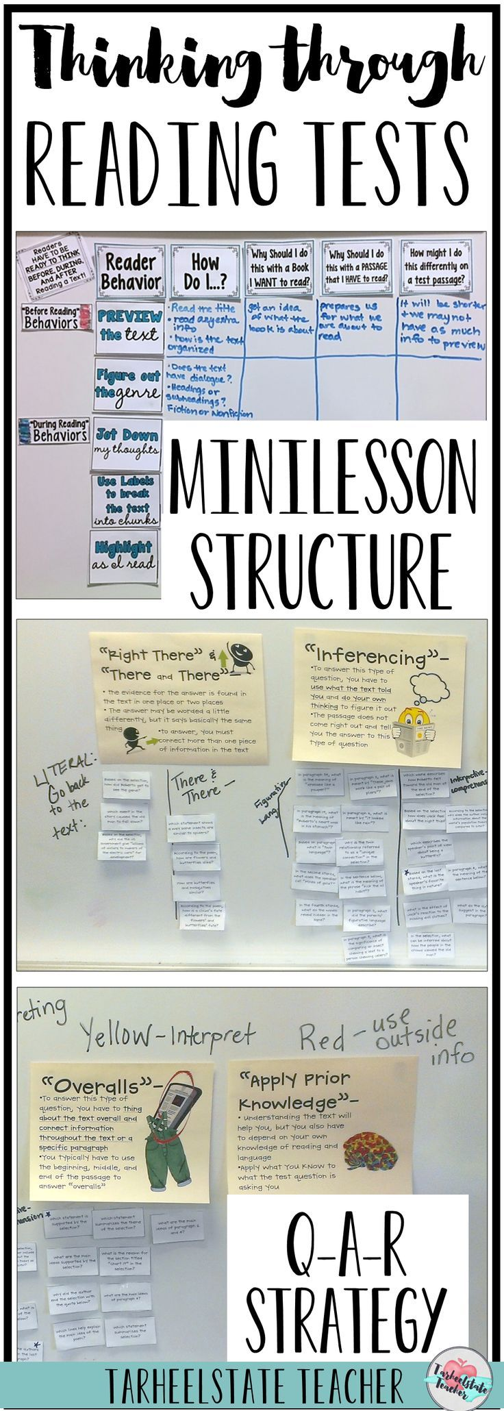 """Is it reading test prep season again? This test-talk minilesson structure for helping students understand the design of standardized reading tests, question-answer relationship strategy (QAR anchor chart), and 4 step reading test strategy for answering questions comes in handy every year for our reading test prep strategies unit to prepare for standardized reading comprehension tests. You'll want to include this """"Thinking Through Reading Tests"""" resource into your reading test revie"""