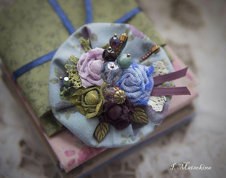Купить Брошь Голубая Мечта - брошь, брошь цветок, брошь ручной работы, брошь из ткани