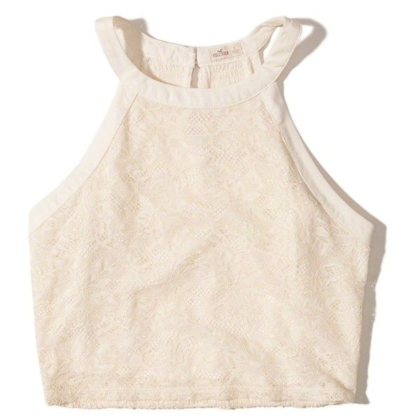 Hollister High-Neck Lace Crop Top ($35) ❤ liked on Polyvore featuring tops, cream, stretch lace top, pink top, pink crop top, smocked top and cut-out crop tops