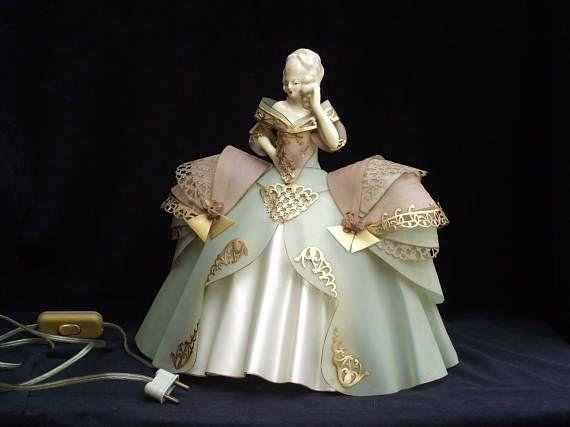 Gorgeous French vintage Celluloid half doll boudoir lamp