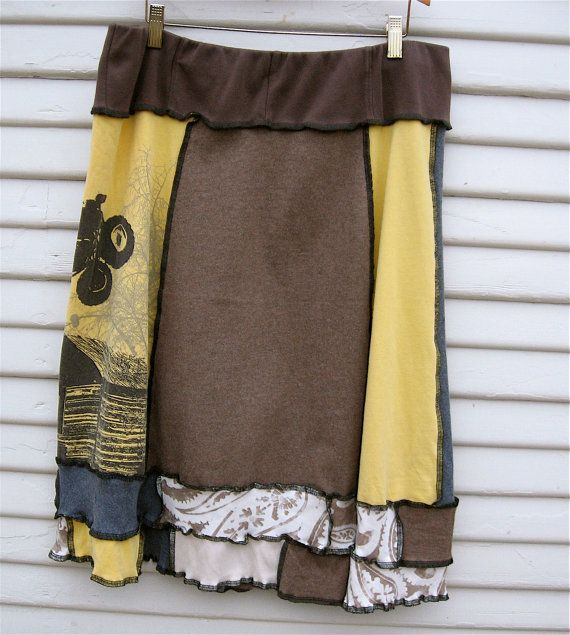 Upcycled Patchwork Skirt  Large  Boho Eco Mori Girl by FlowerPie, $29.00
